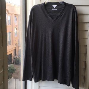 Gray Calvin Klein vneck pullover cotton sweater